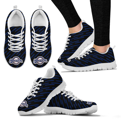 Marvelous Striped Stunning Logo Milwaukee Brewers Sneakers
