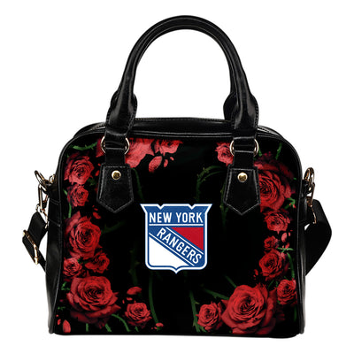 Valentine Rose With Thorns New York Rangers Shoulder Handbags