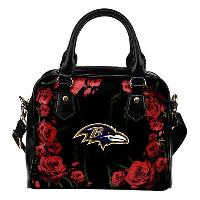Valentine Rose With Thorns Baltimore Ravens Shoulder Handbags