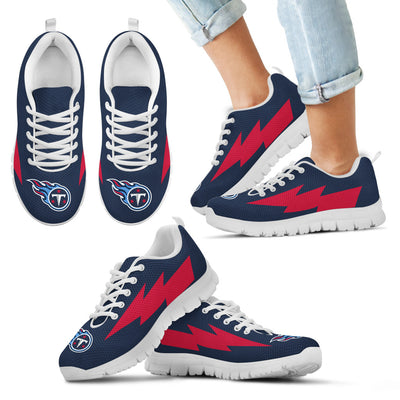 Interesting Tennessee Titans Sneakers Thunder Lightning Amazing Logo