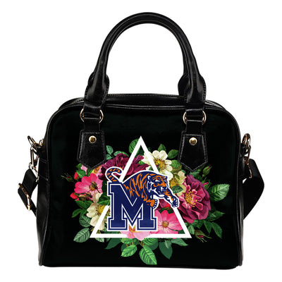 Floral Rose Valentine Logo Memphis Tigers Shoulder Handbags