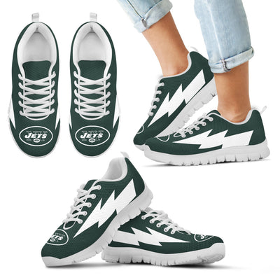 Colorful Style New York Jets Sneakers Thunder Lightning Amazing Logo