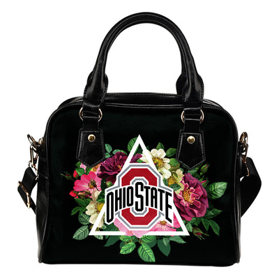 Floral Rose Valentine Logo Ohio State Buckeyes Shoulder Handbags