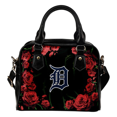 BlackValentine Rose With Thorns Detroit Tigers Shoulder Handbags