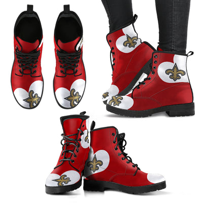 Enormous Lovely Hearts With New Orleans Saints Boots