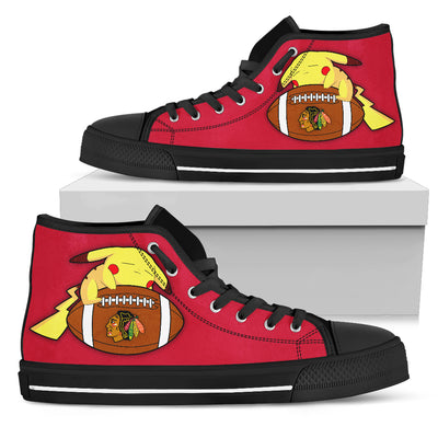 Pikachu Laying On Ball Chicago Blackhawks High Top Shoes