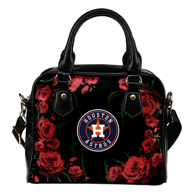 Valentine Rose With Thorns Houston Astros Shoulder Handbags