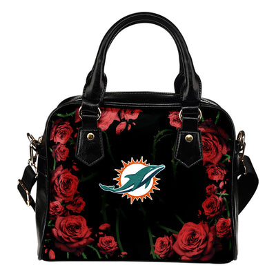 Valentine Rose With Thorns Miami Dolphins Shoulder Handbags
