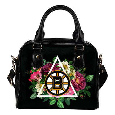 Floral Rose Valentine Logo Boston Bruins Shoulder Handbags