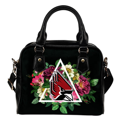 Floral Rose Valentine Logo Ball State Cardinals Shoulder Handbags