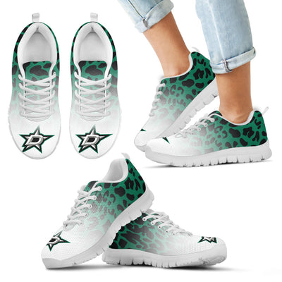 Custom Printed Dallas Stars Sneakers Leopard Pattern Awesome