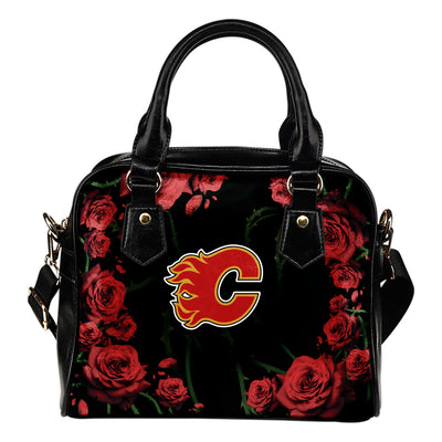 Valentine Rose With Thorns Calgary Flames Shoulder Handbags