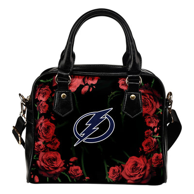 Valentine Rose With Thorns Tampa Bay Lightning Shoulder Handbags