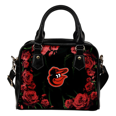Valentine Rose With Thorns Baltimore Orioles Shoulder Handbags