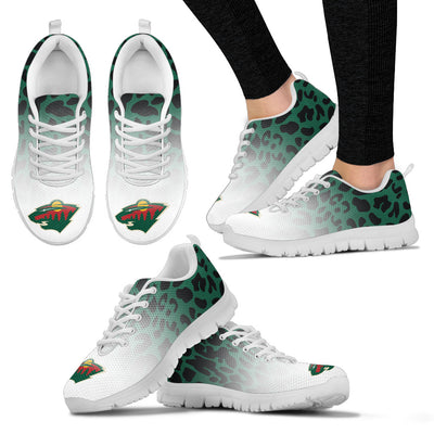 Custom Printed Minnesota Wild Sneakers Leopard Pattern Awesome