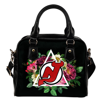 Floral Rose Valentine Logo New Jersey Devils Shoulder Handbags