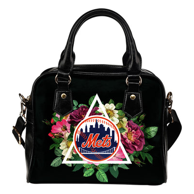 Beautiful New York Mets Shoulder Handbags Floral Rose Valentine Logo
