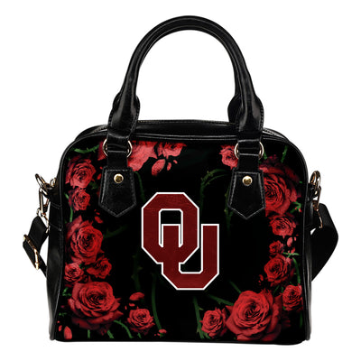 Valentine Rose With Thorns Oklahoma Sooners Shoulder Handbags
