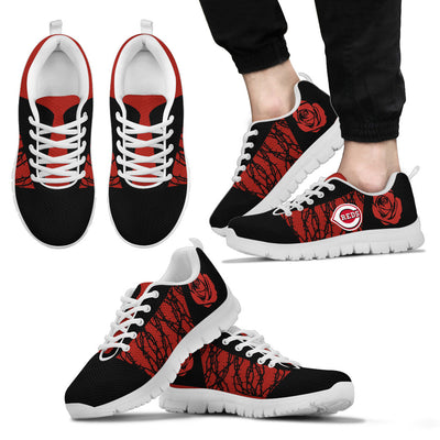 Rose Plant Gorgeous Lovely Logo Cincinnati Reds Sneakers