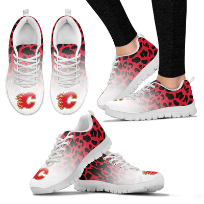 Custom Printed Calgary Flames Sneakers Leopard Pattern Awesome