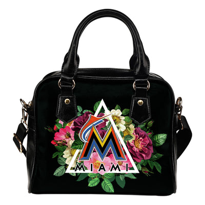Gorgeous Miami Marlins Shoulder Handbags Floral Rose Valentine Logo