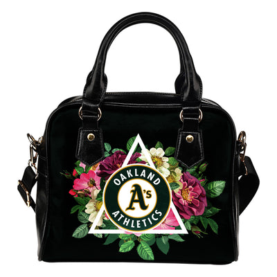 Floral Rose Valentine Logo Oakland Athletics Shoulder Handbags