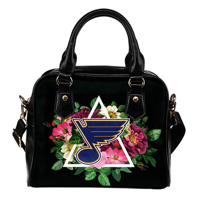 Floral Rose Valentine Logo St. Louis Blues Shoulder Handbags