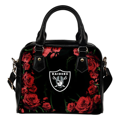Valentine Rose With Thorns Oakland Raiders Shoulder Handbags
