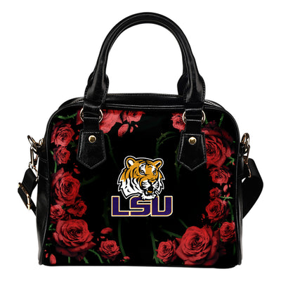Valentine Rose With Thorns LSU Tigers Shoulder Handbags