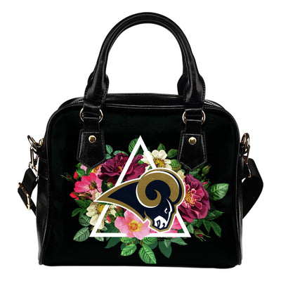 Great Los Angeles Rams Shoulder Handbags Floral Rose Valentine Logo