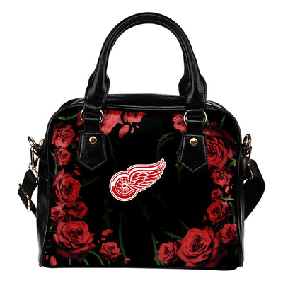 Valentine Rose With Thorns Detroit Red Wings Shoulder Handbags
