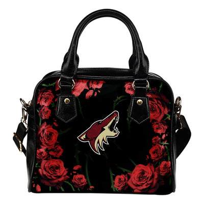 Valentine Rose With Thorns Arizona Coyotes Shoulder Handbags