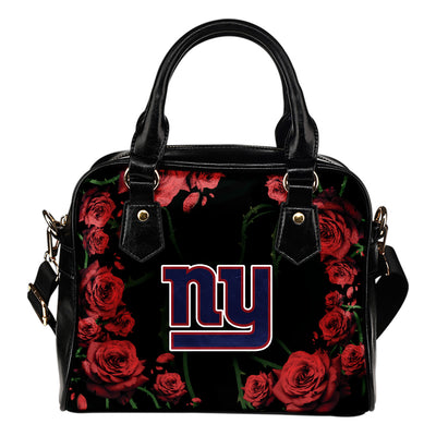Valentine Rose With Thorns New York Giants Shoulder Handbags