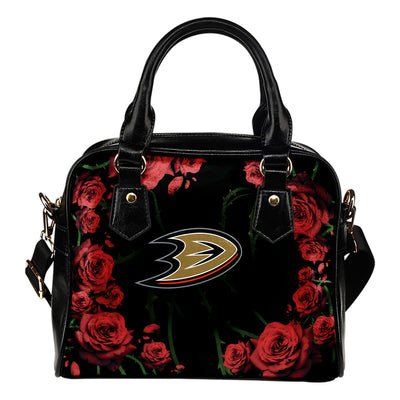 Valentine Rose With Thorns Anaheim Ducks Shoulder Handbags