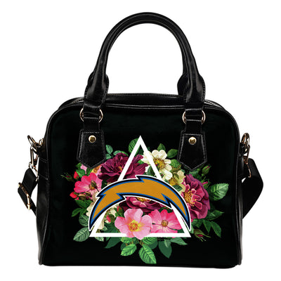 Los Angeles Chargers Shoulder Handbags Floral Rose Valentine Logo
