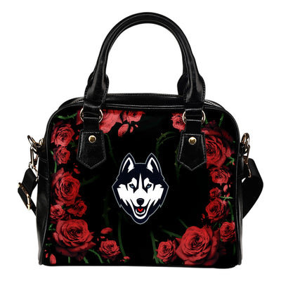 Valentine Rose With Thorns Connecticut Huskies Shoulder Handbags