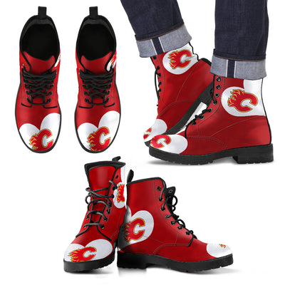 Enormous Lovely Hearts With Calgary Flames Boots