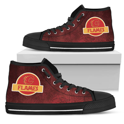 Jurassic Park Calgary Flames High Top Shoes V2
