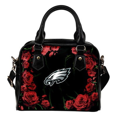 Valentine Rose With Thorns Philadelphia Eagles Shoulder Handbags