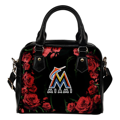 Valentine Rose With Thorns Miami Marlins Shoulder Handbags