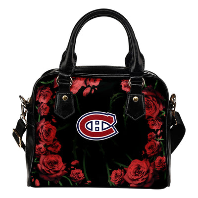 Valentine Rose With Thorns Montreal Canadiens Shoulder Handbags