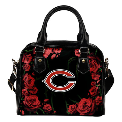 Valentine Rose With Thorns Chicago Bears Shoulder Handbags