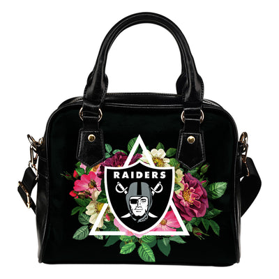 Perfect Oakland Raiders Shoulder Handbags Floral Rose Valentine Logo