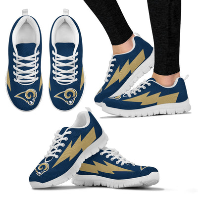 Beautiful Los Angeles Rams Sneakers Thunder Lightning Amazing Logo