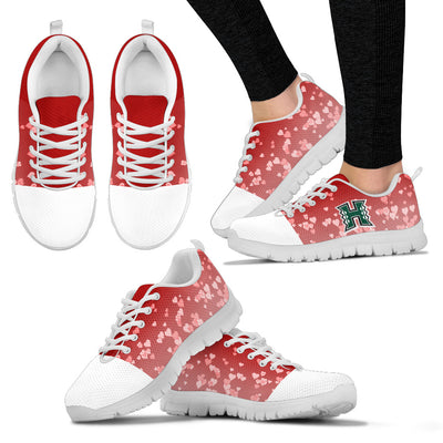 Heart Flying Valentine Sweet Logo Hawaii Rainbow Warriors  Sneakers