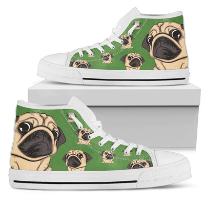 Funny Pug Dog High Top Shoes Pug Face Pattern