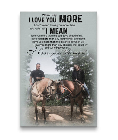Happy Couple With Horses Everyday Custom Canvas Print