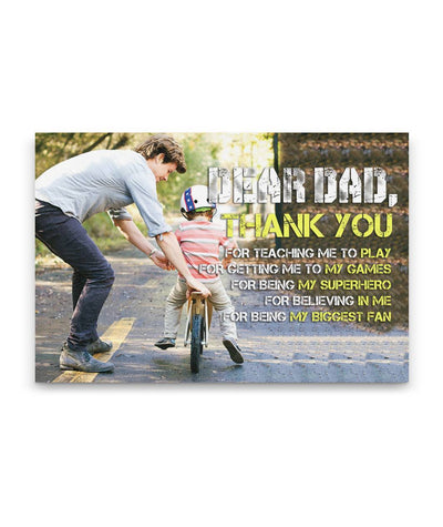 Thank You For Teaching Me To Ride Bicycle Father Cycling Custom Canvas Print