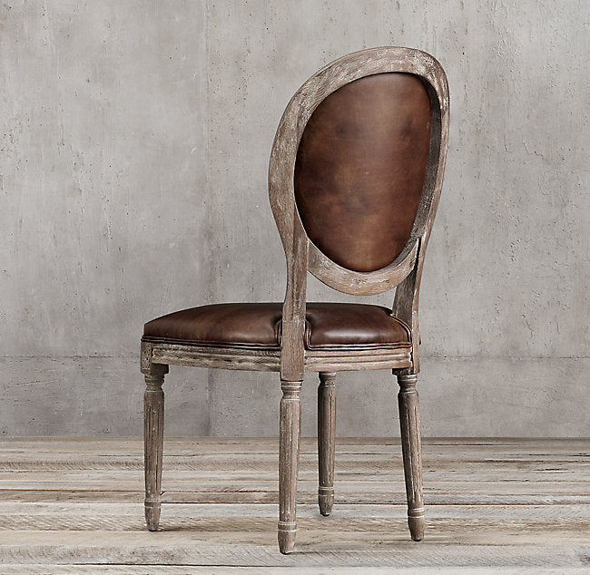 Restoration Hardware French Round Leather Chair