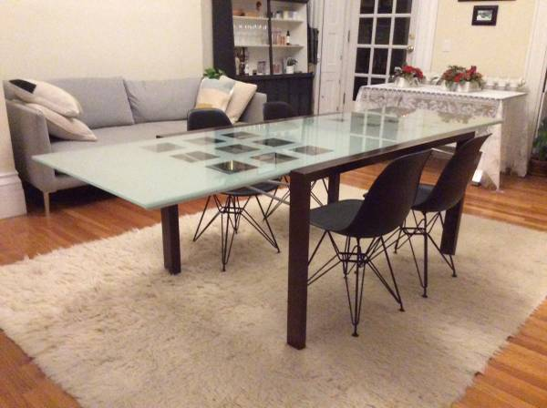 Ligne Roset Extensia Cherry & Glass Dining Table with Chairs
